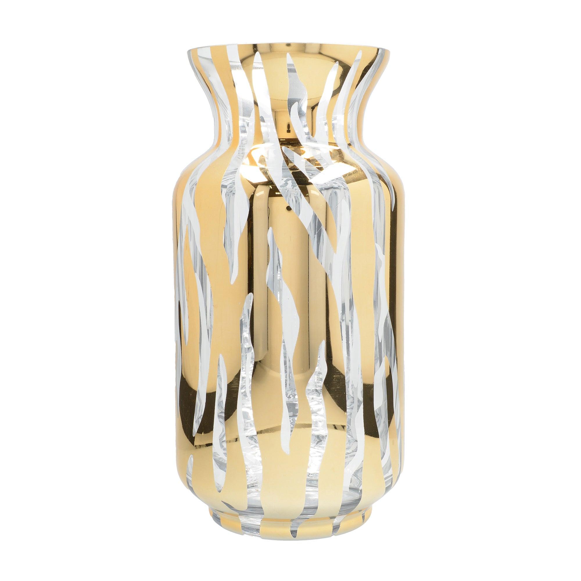 Photo of Gold tiger stripe glass vase gold