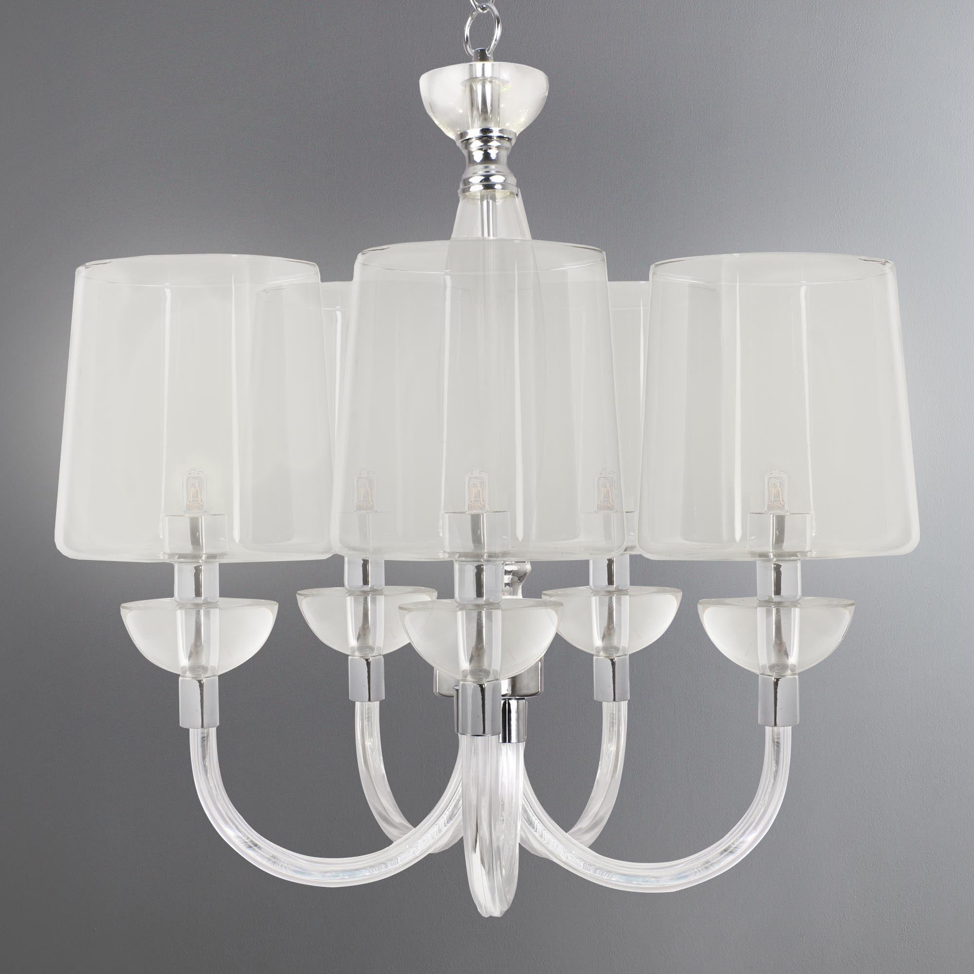Photo of Andon nickel 5 light glass fitting clear