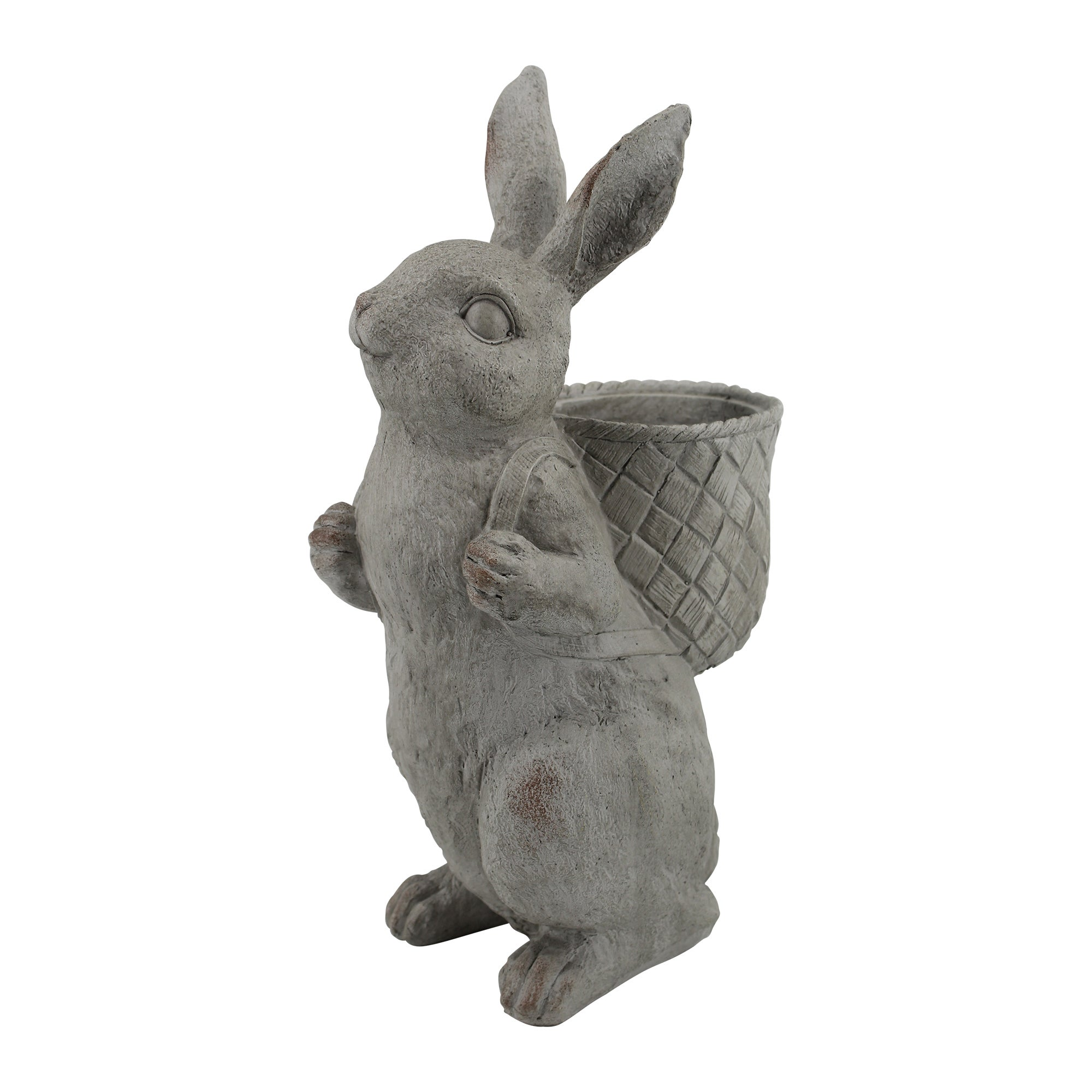 Image of Resin Rabbit with Backpack Planter Grey Grey