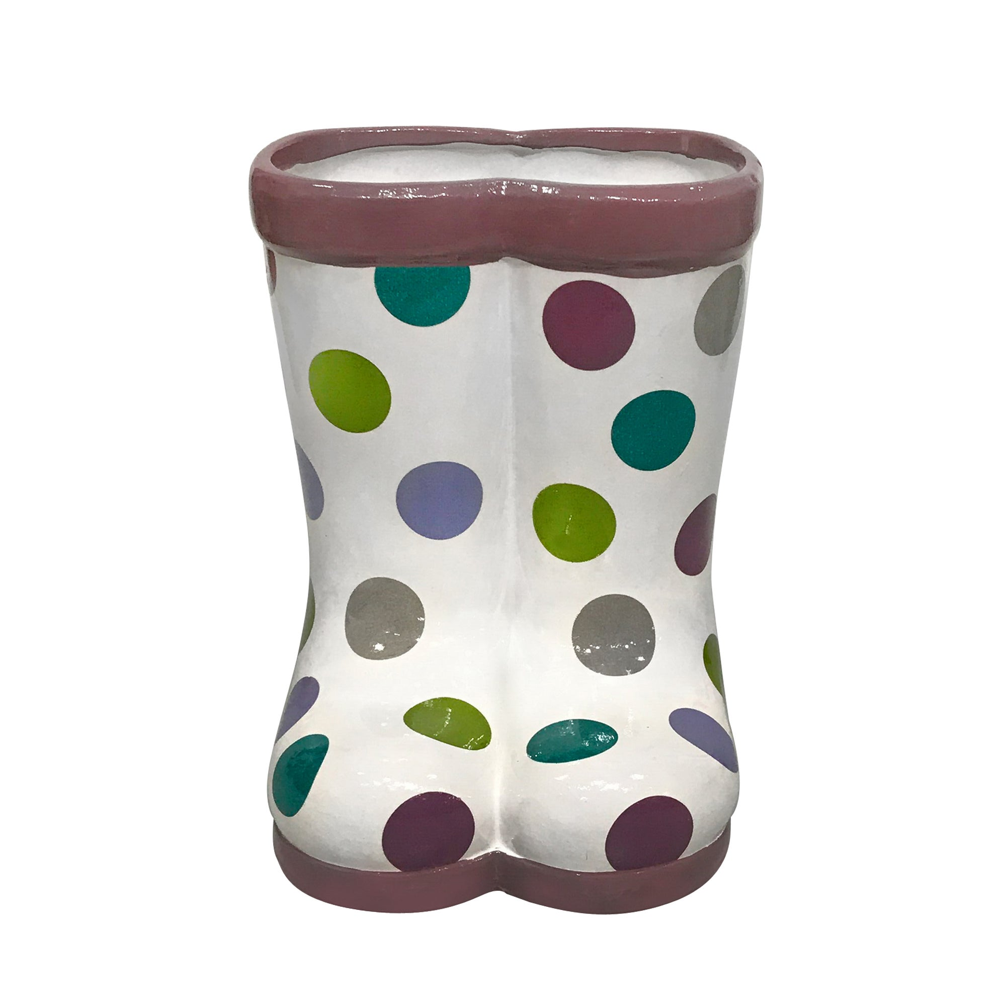 Image of Spotty Ceramic Welly Boot Planter Multi Coloured