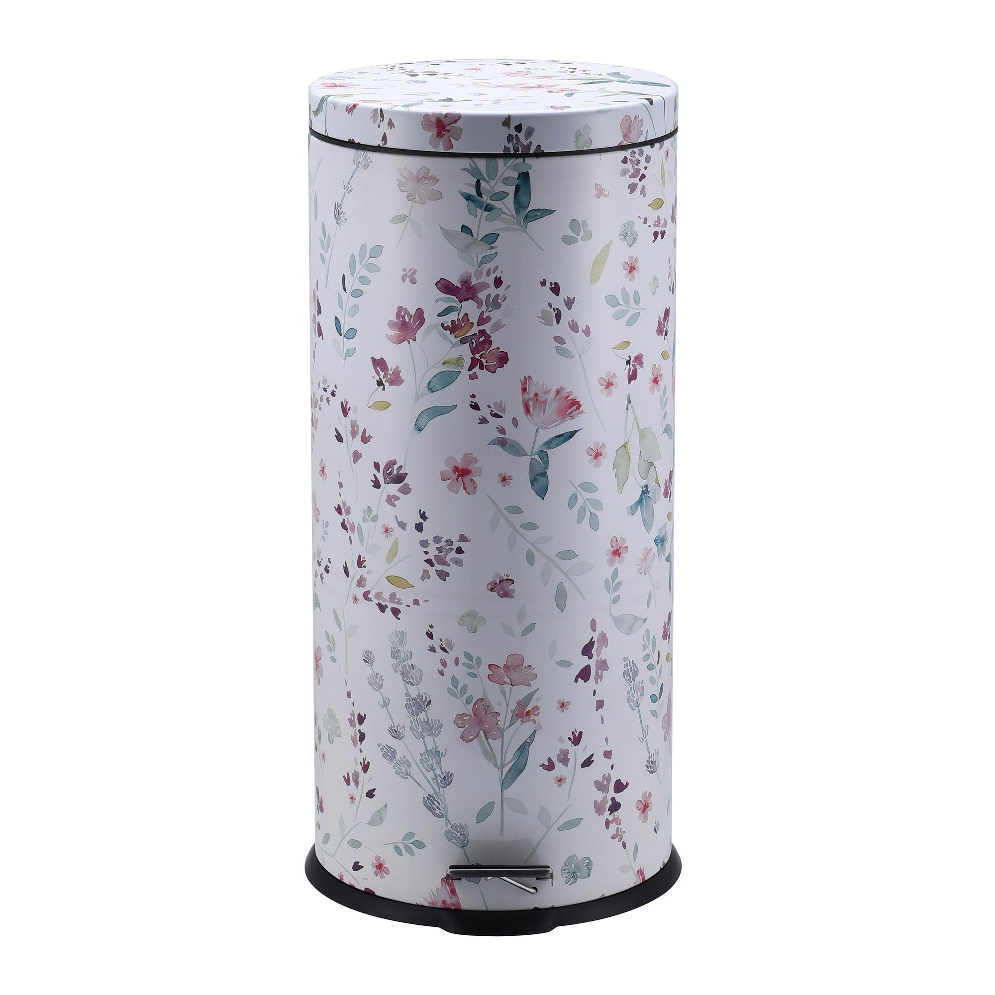 Image of 30 Litre Floral Pedal Bin Teal