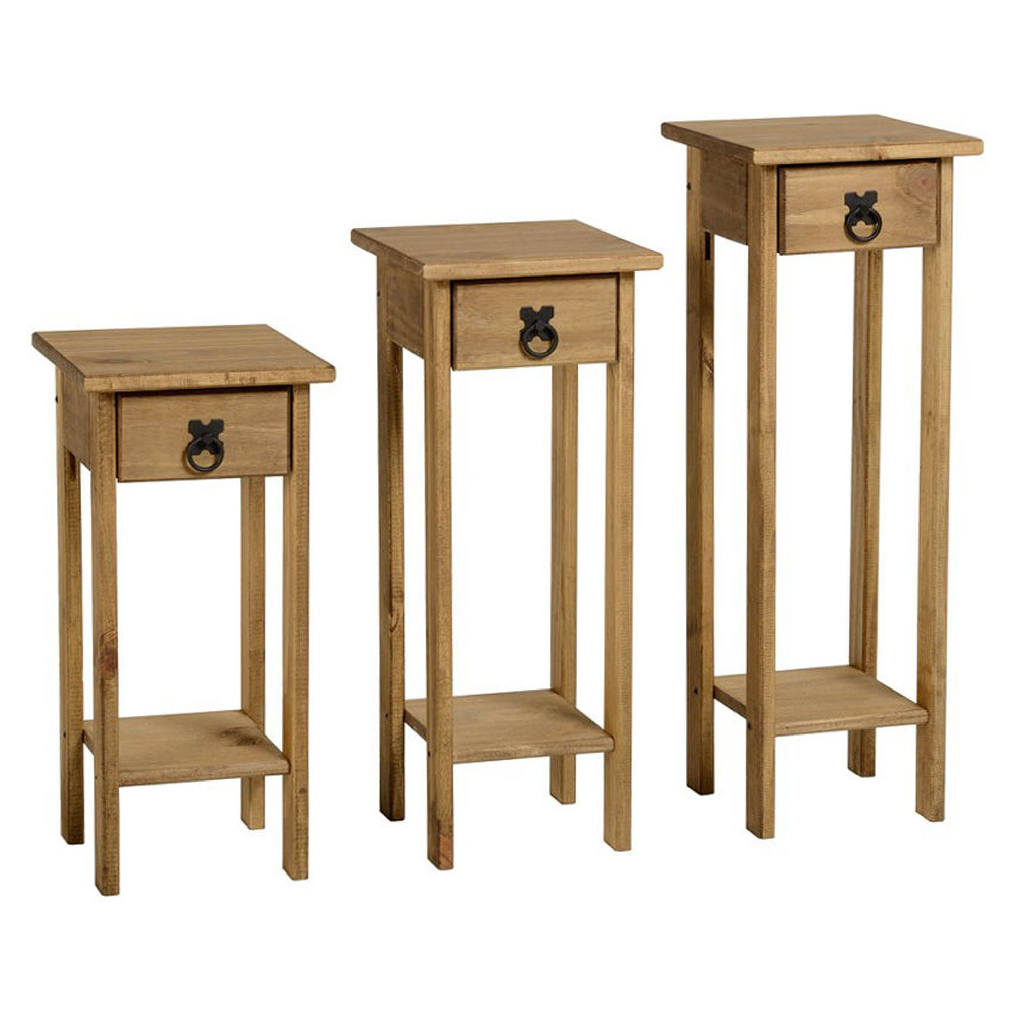 Image of Corona Pine Set of 3 Plant Stands Natural