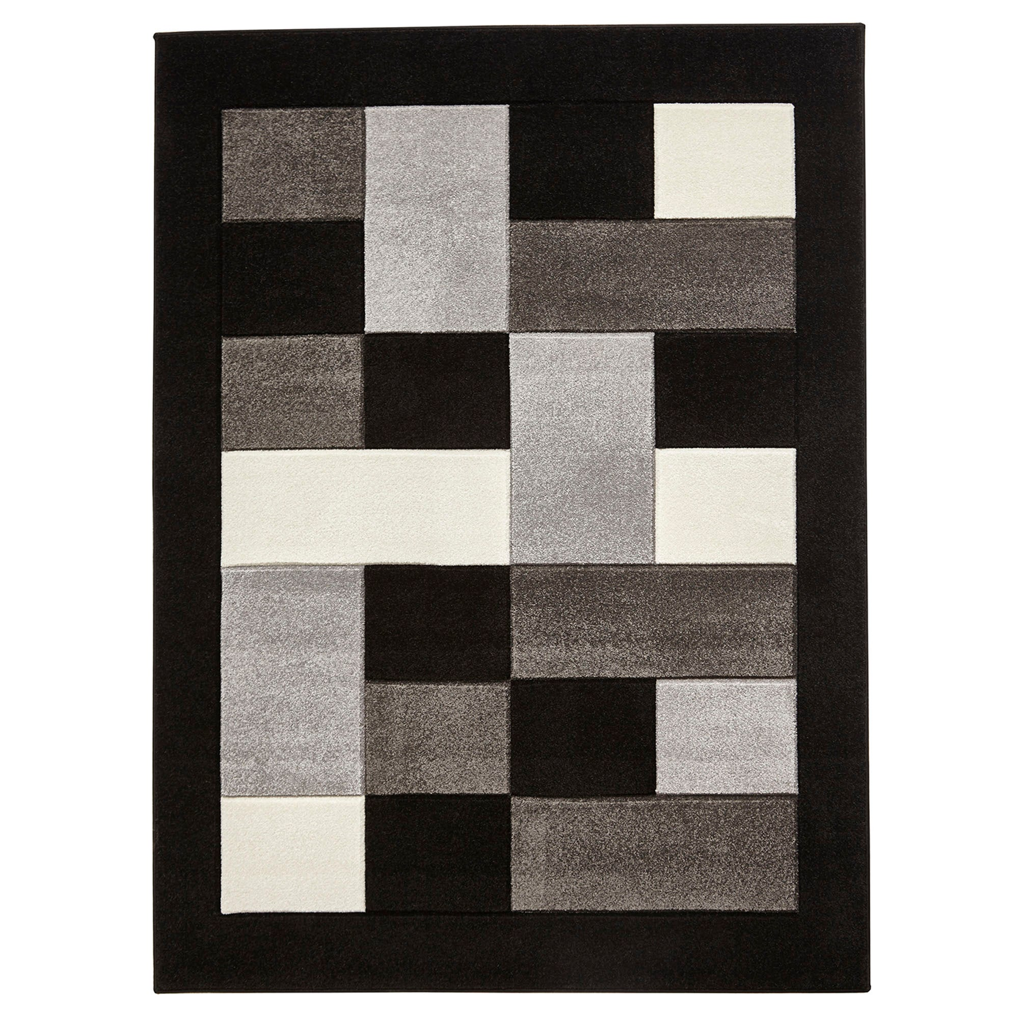 Photo of Black and grey block matrix mt04 rug grey