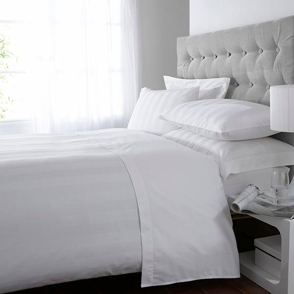 White Hotel Stripe 300 Thread Count Bed Linen Collection