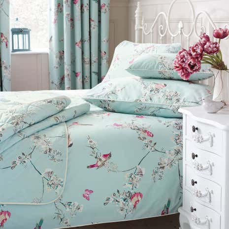 Beautiful Birds Duck Egg Bed Linen Collection Dunelm