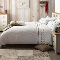 Taupe Gingham Hearts Bed Linen Collection