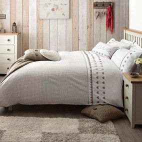 Gingham Hearts Taupe Bed Linen Collection