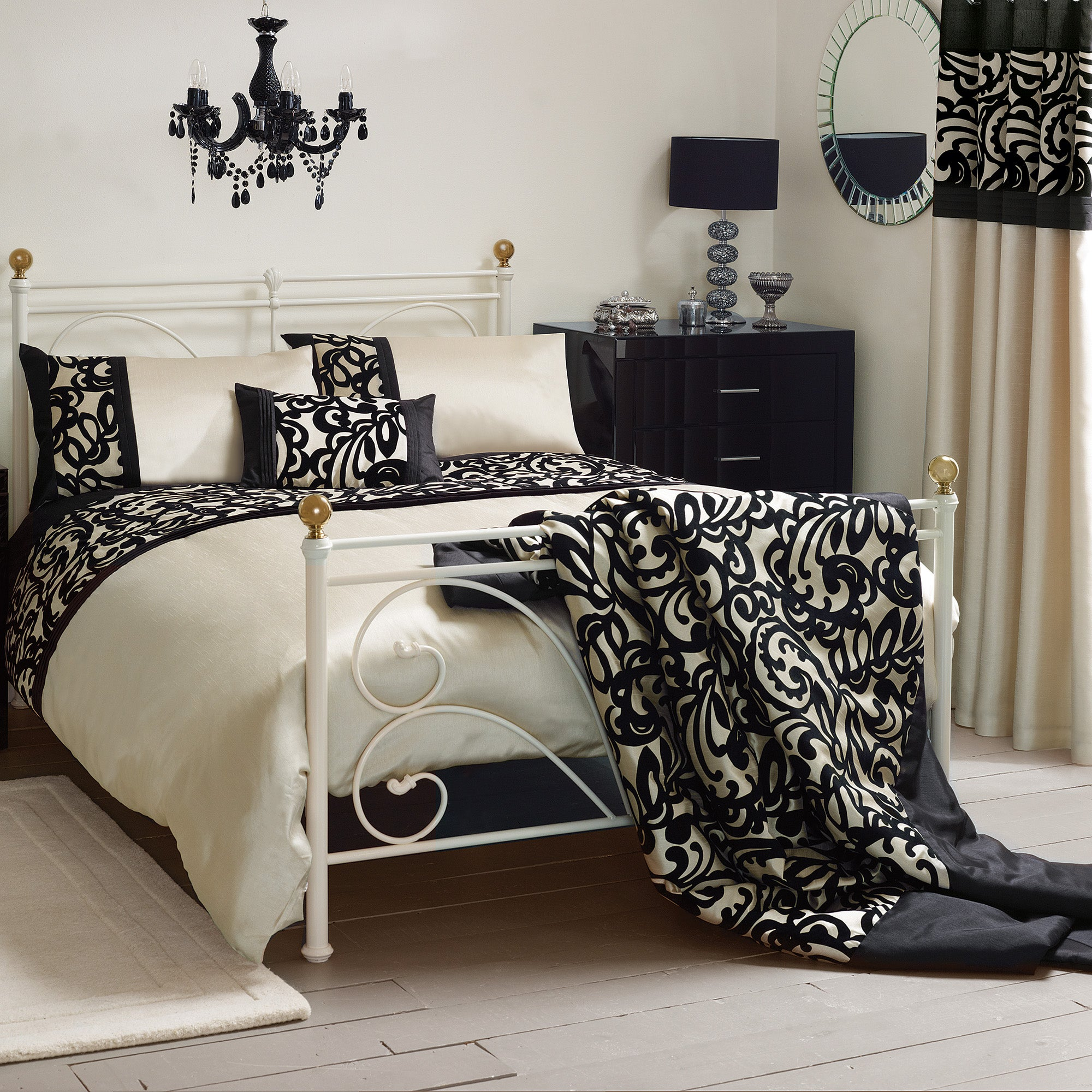 Black Baroque Flock Bed Linen Collection
