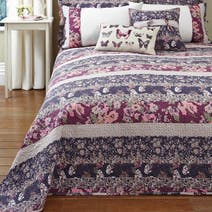 Mauve Flora Patchwork Bed Linen Collection