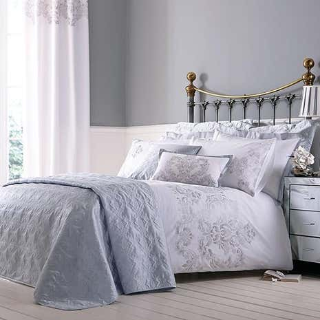 Nina Silver Bed Linen Collection Dunelm