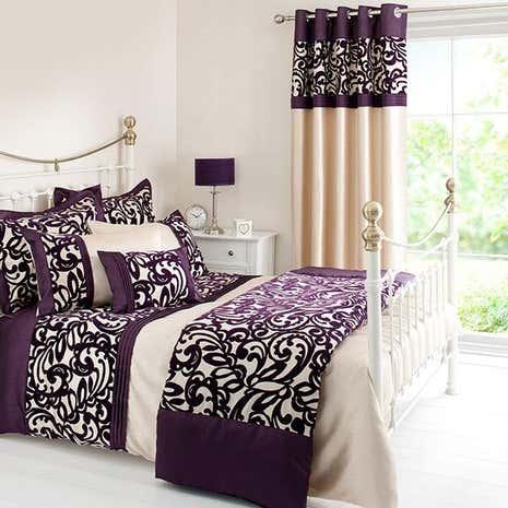 Plum Baroque Flock Bed Linen Collection Dunelm