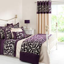 Plum Baroque Flock Bed Linen Collection