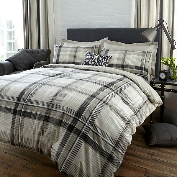 Salvage Check Grey Bed Linen Collection