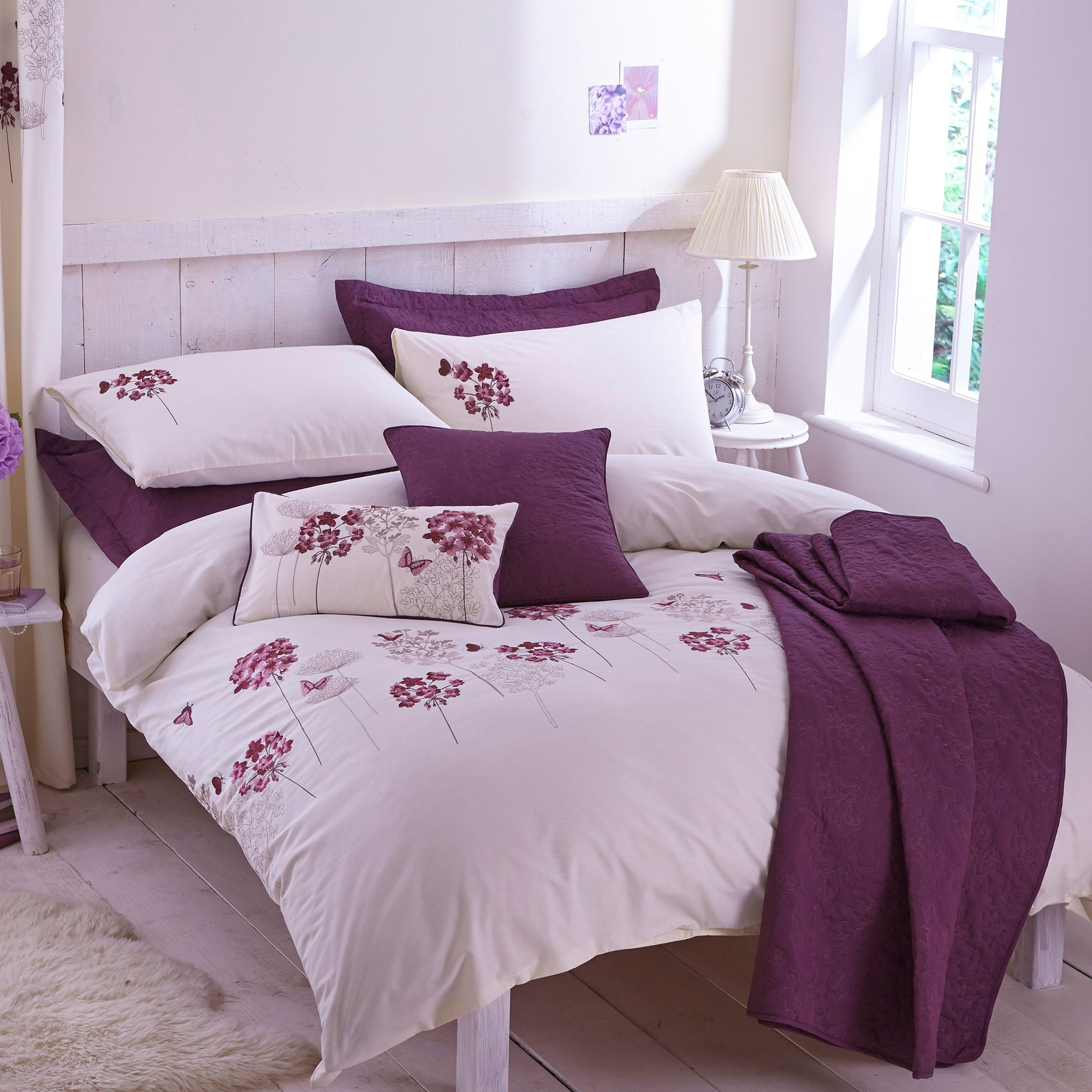 Hydrangea Plum Bed Linen Collection