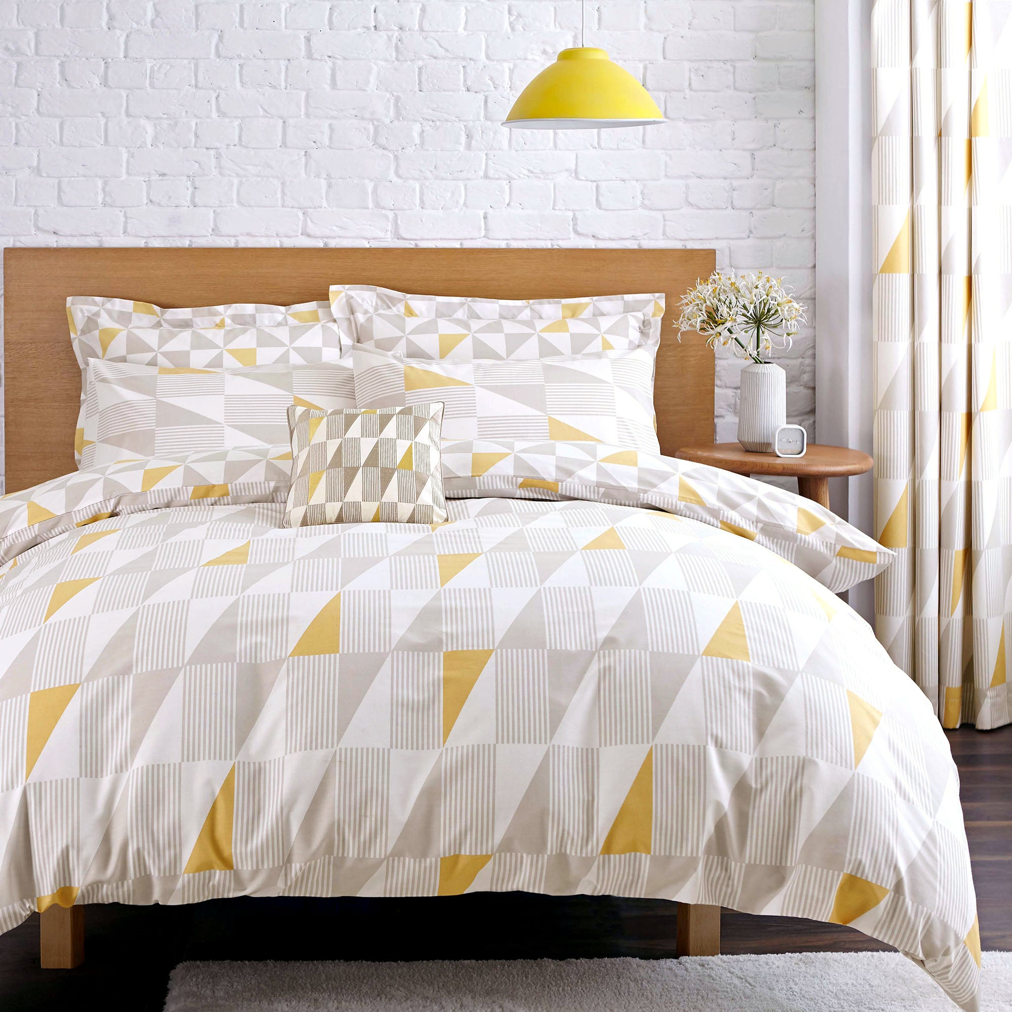 share skandi geo yellow bed linen collection