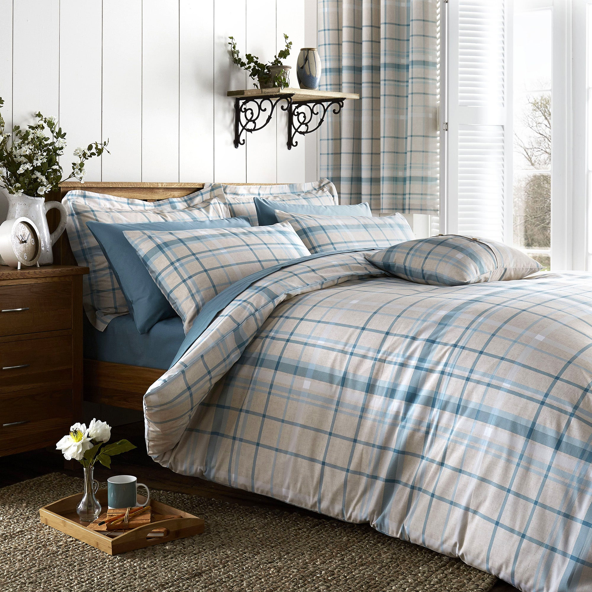 Check Duck Egg Bed Linen Collection