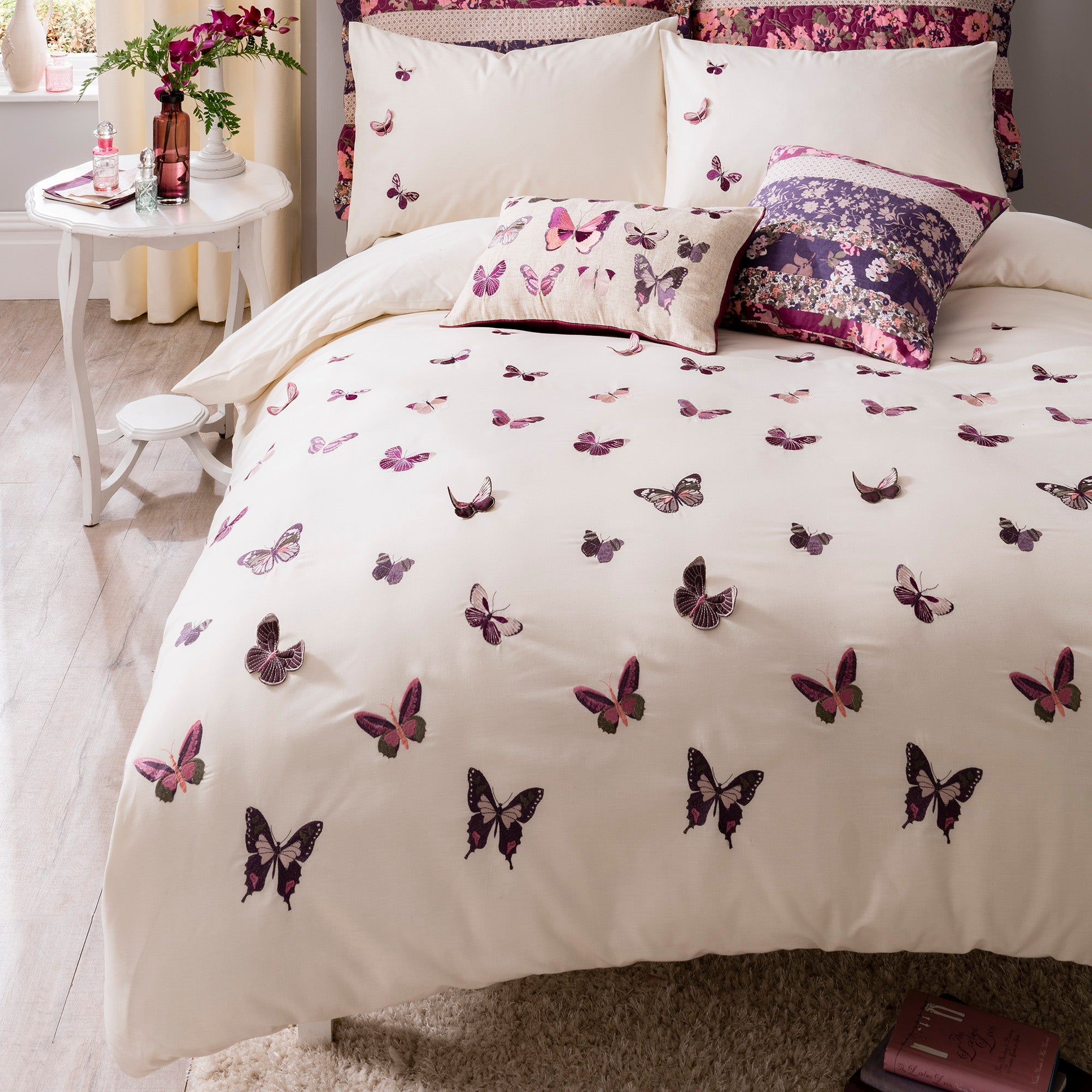 Flora Butterfly Plum Bed Linen Collection