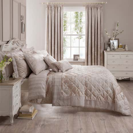 Laura Natural Jacquard Bed Linen Collection Dunelm