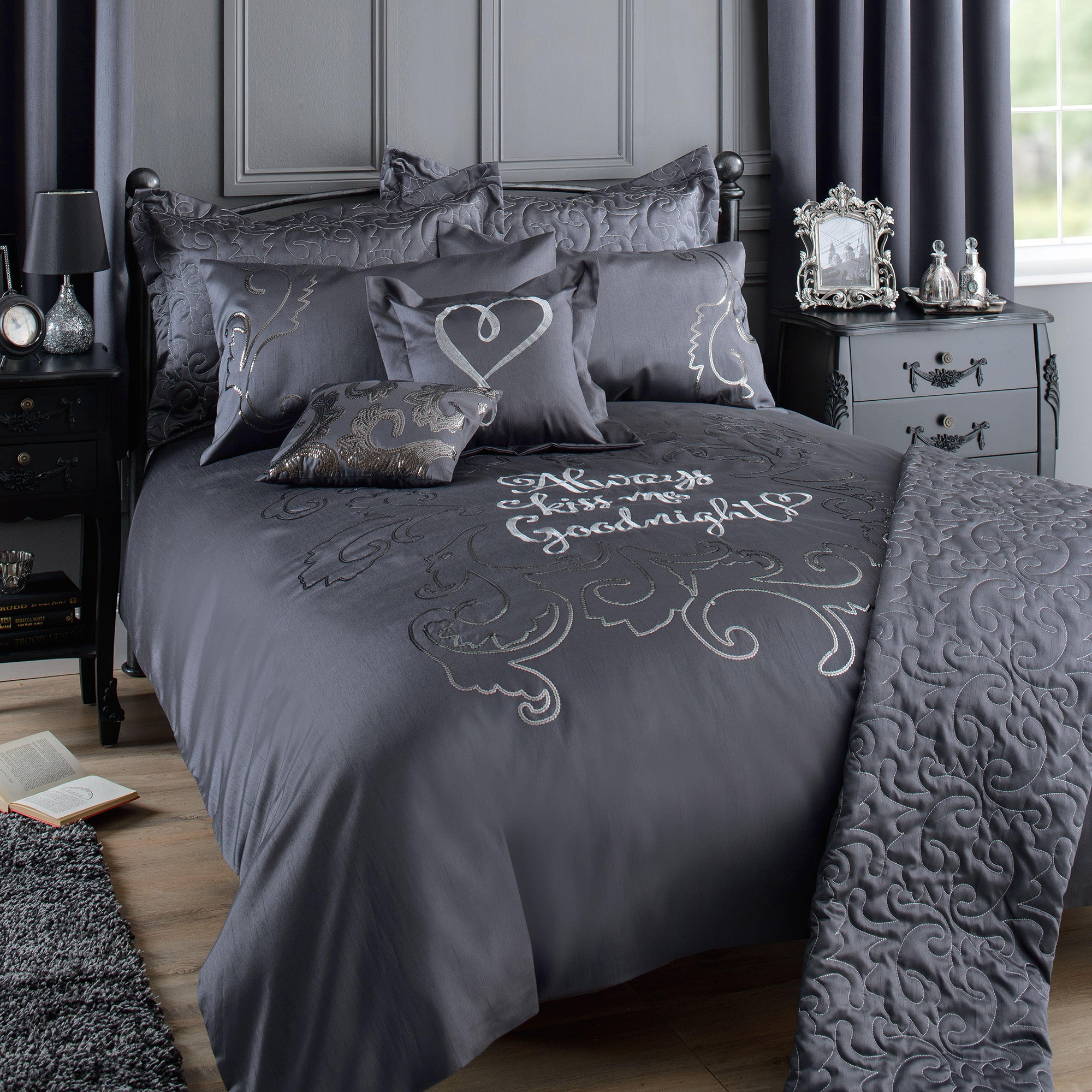 Kiss Me Goodnight Charcoal Bed Linen Collection