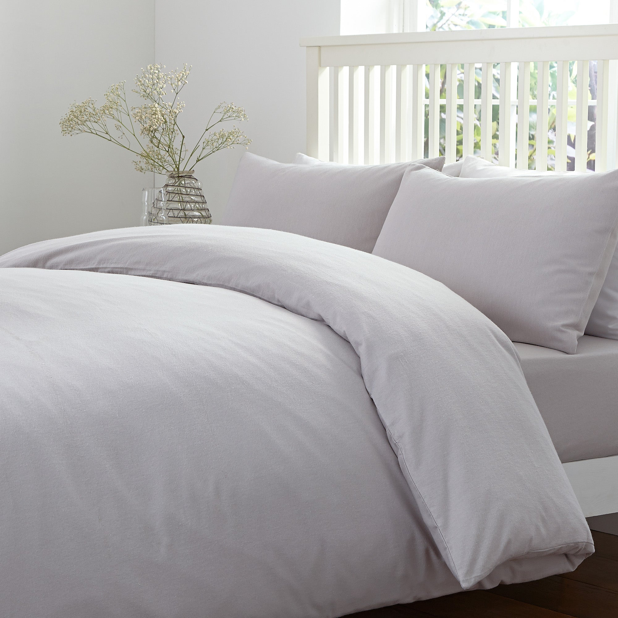 Brushed Cotton White Bed Linen Collection