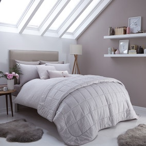 Logan Seersucker Grey Bed Linen Collection