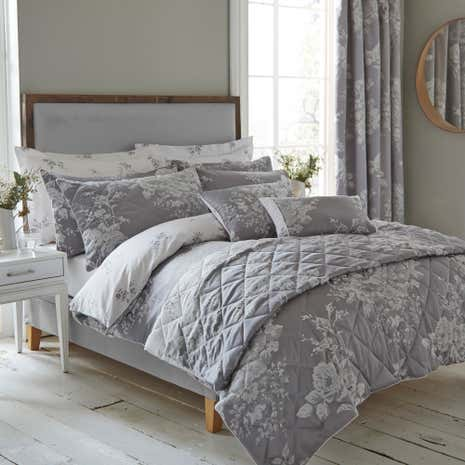 Laura Grey Jacquard Bed Linen Collection Dunelm