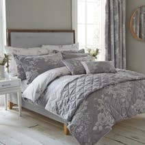 Laura Grey Jacquard Bed Linen Collection