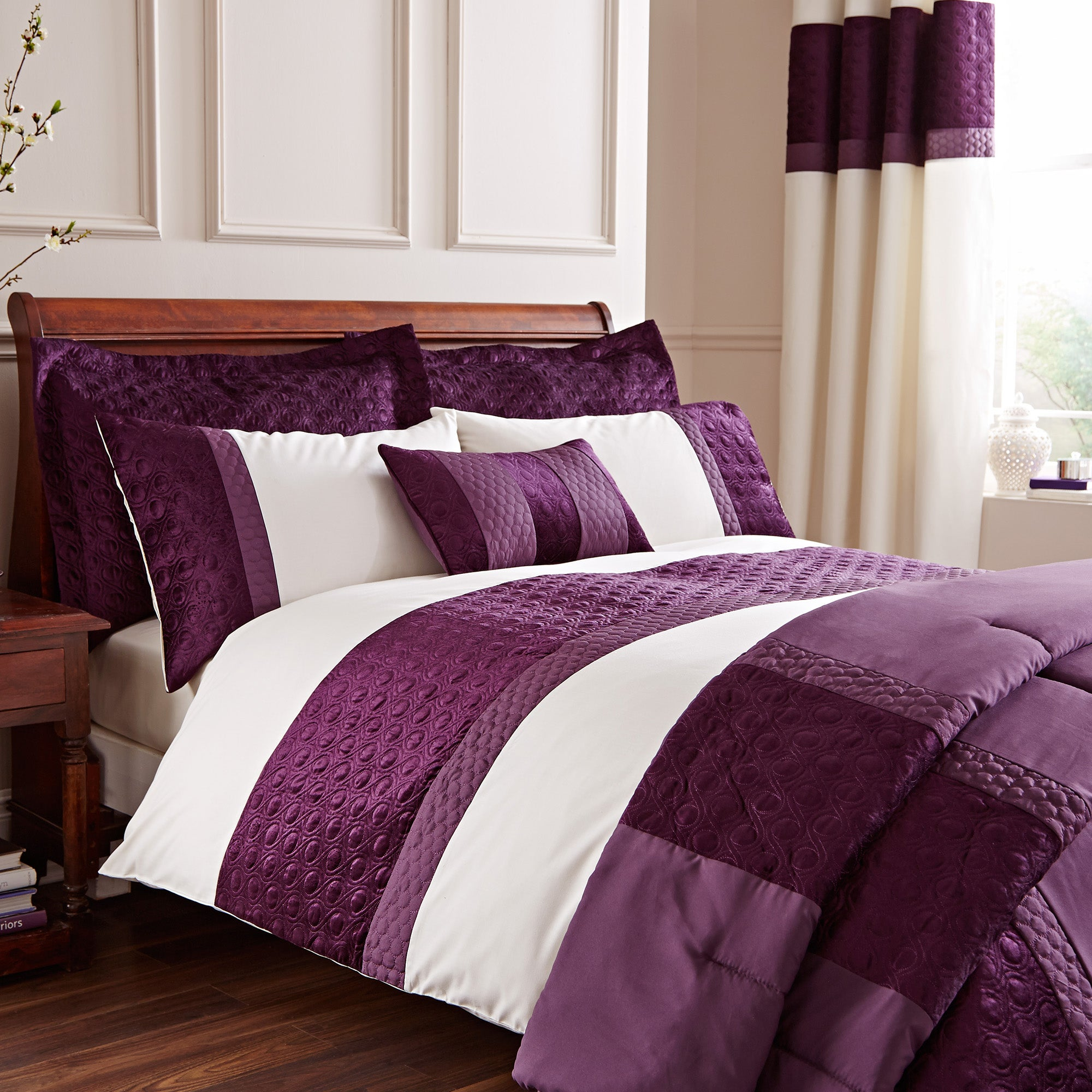 Adalene Plum Bed Linen Collection