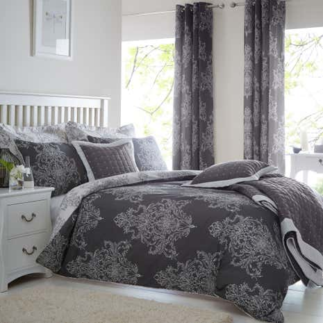 Versailles Charcoal Bed Linen Collection Dunelm