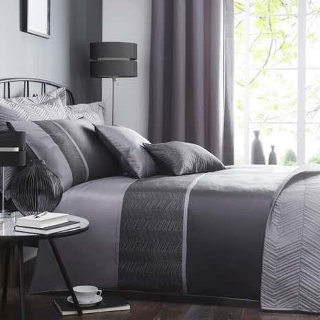 Owen Black Bed Linen Collection Dunelm