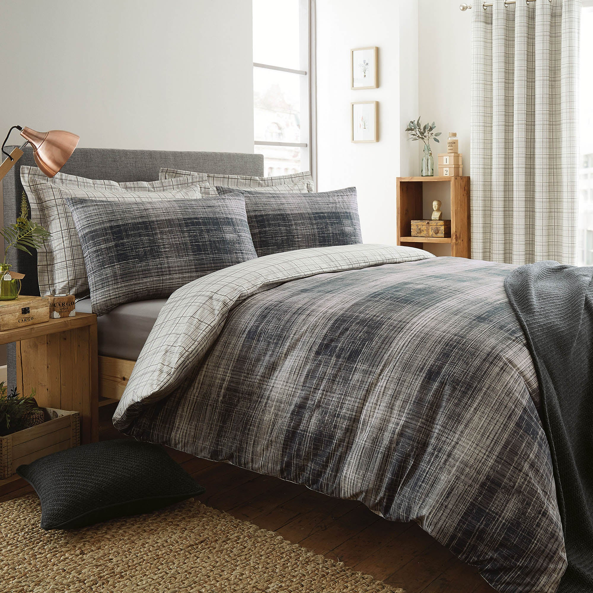 Harvey Charcoal Bed Linen Collection