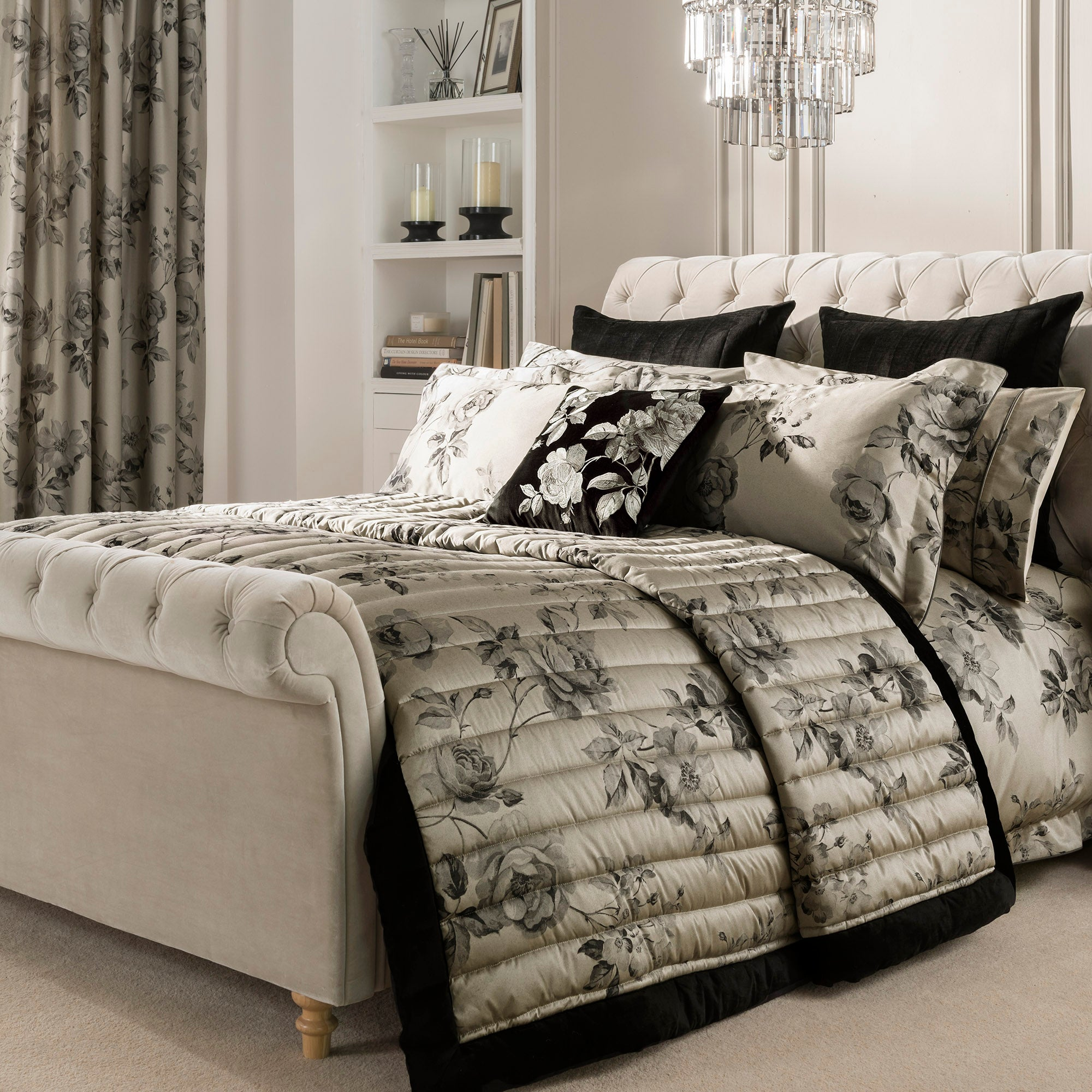 Dorma Harriet Charcoal Bed Linen Collection Dunelm