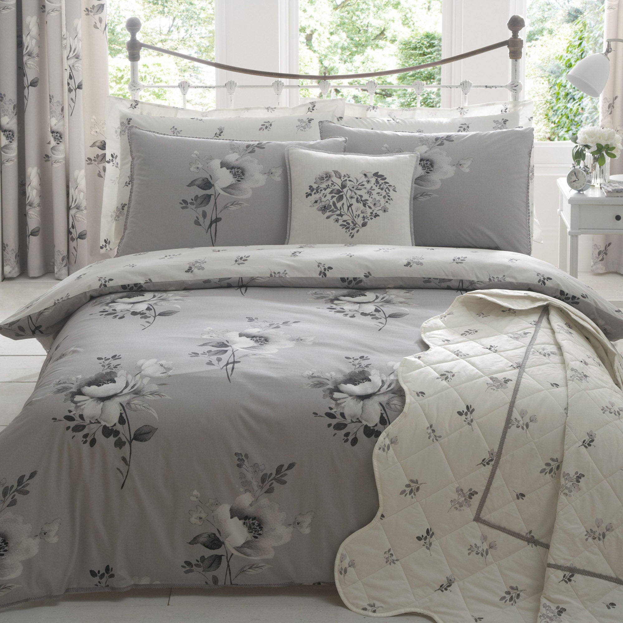 Liana Grey Bed Linen Collection