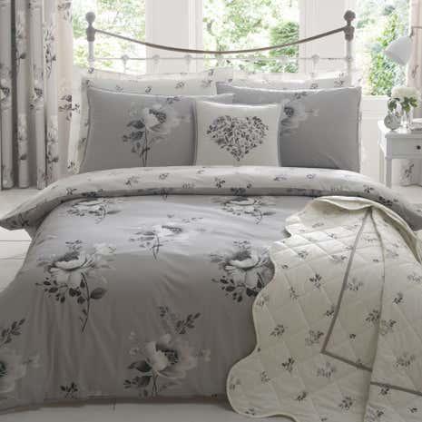 Liana Grey Bed Linen Collection Dunelm