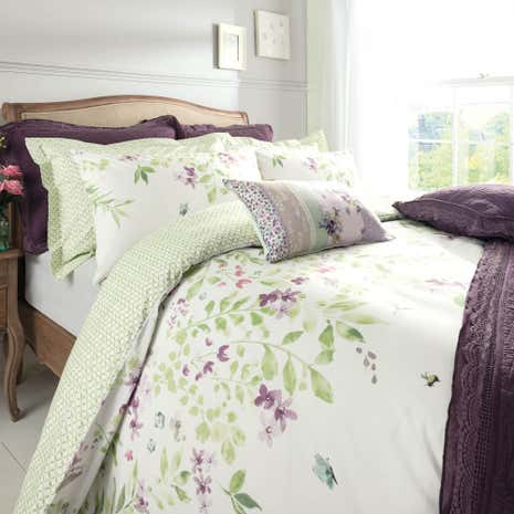 wisley floral green bed linen collection dunelm. Black Bedroom Furniture Sets. Home Design Ideas