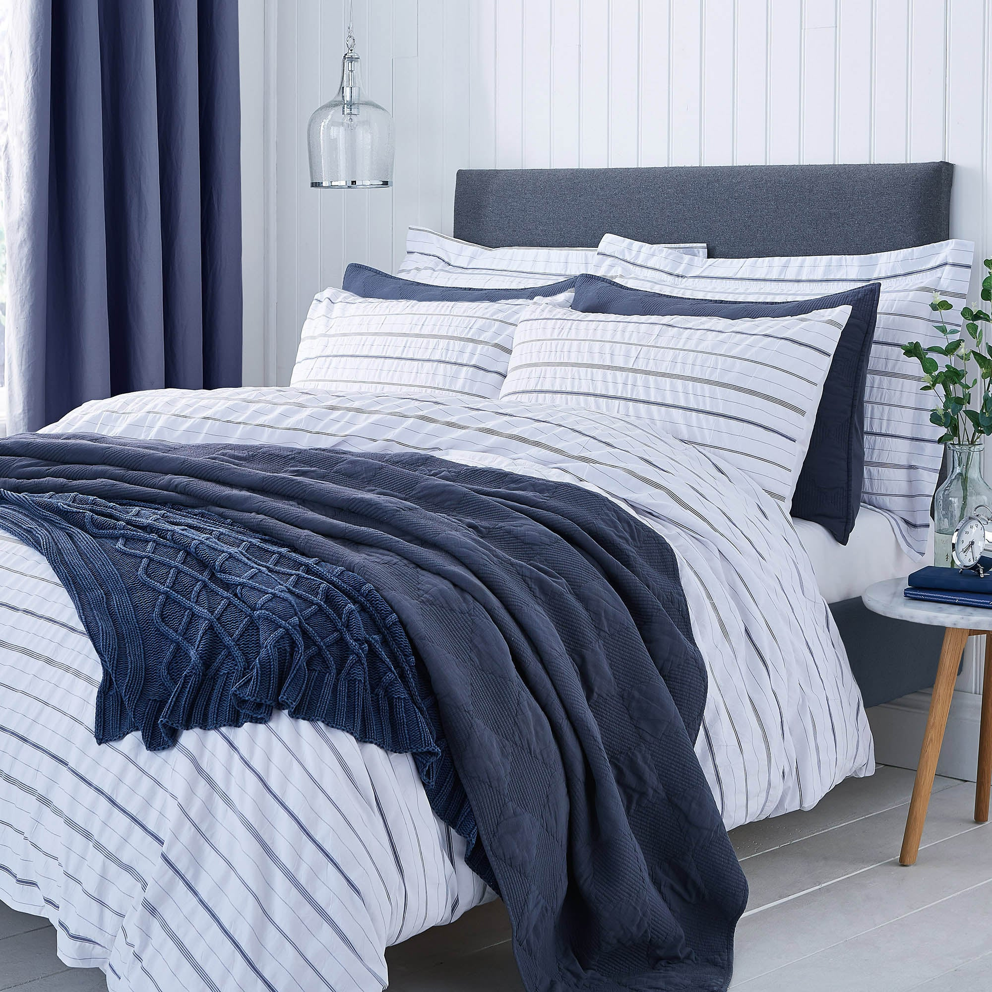 Colton Pinstripe White Bed Linen Collection
