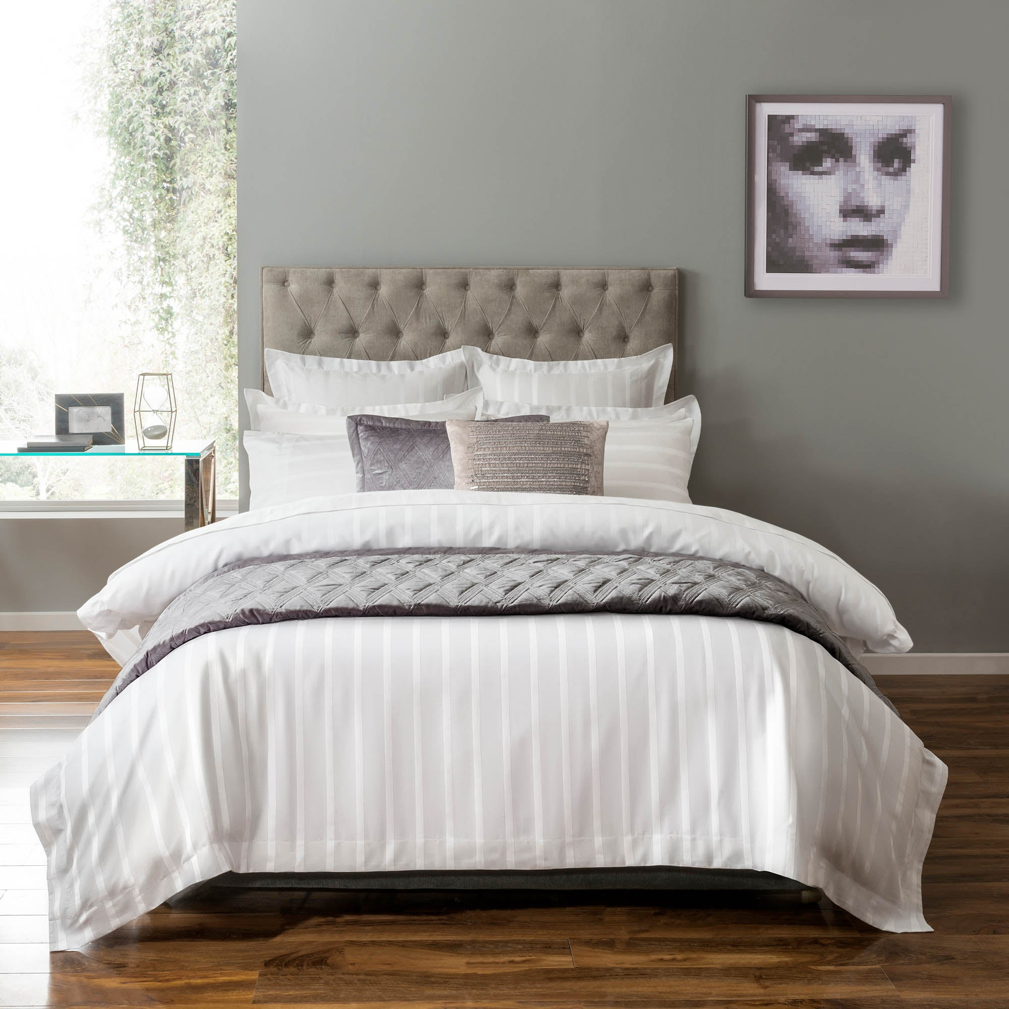5A Fifth Avenue Herringbone 300 Thread Count White Bed Linen Collection