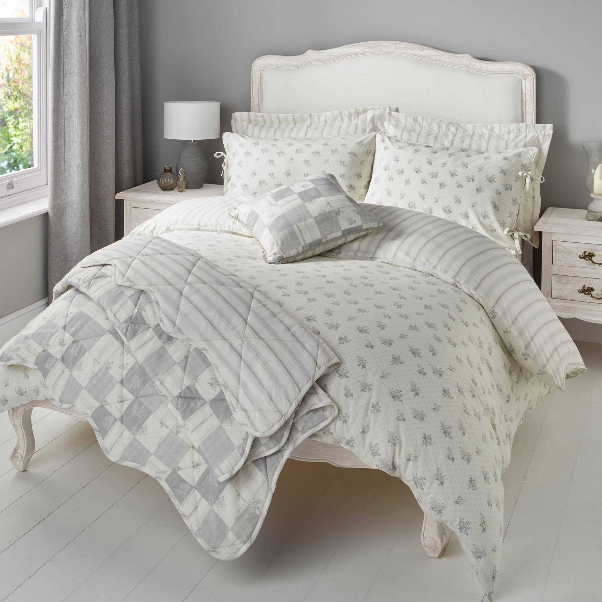 Mia Grey Bed Linen Collection