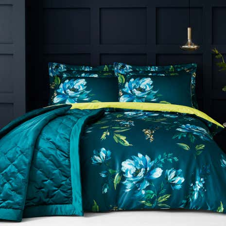 Charm Floral Teal Bed Linen Collection Dunelm