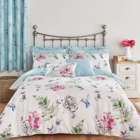Heavenly Hummingbirds Duck Egg Bed Linen Collection