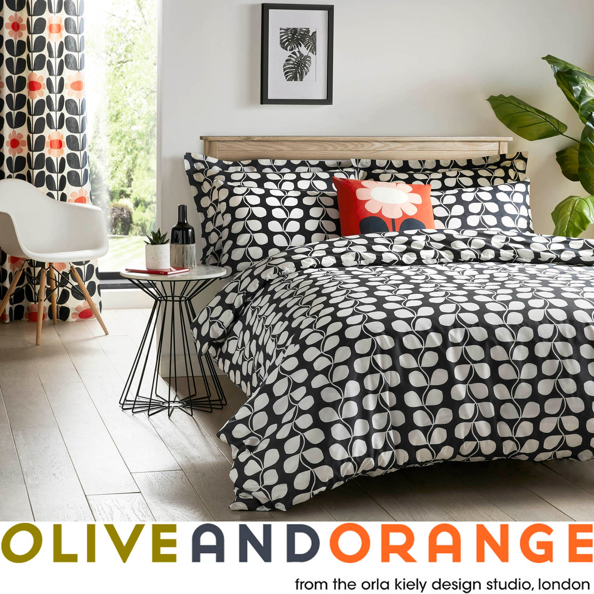 Olive & Orange Rambling Leaf Grey Bed Linen Collection