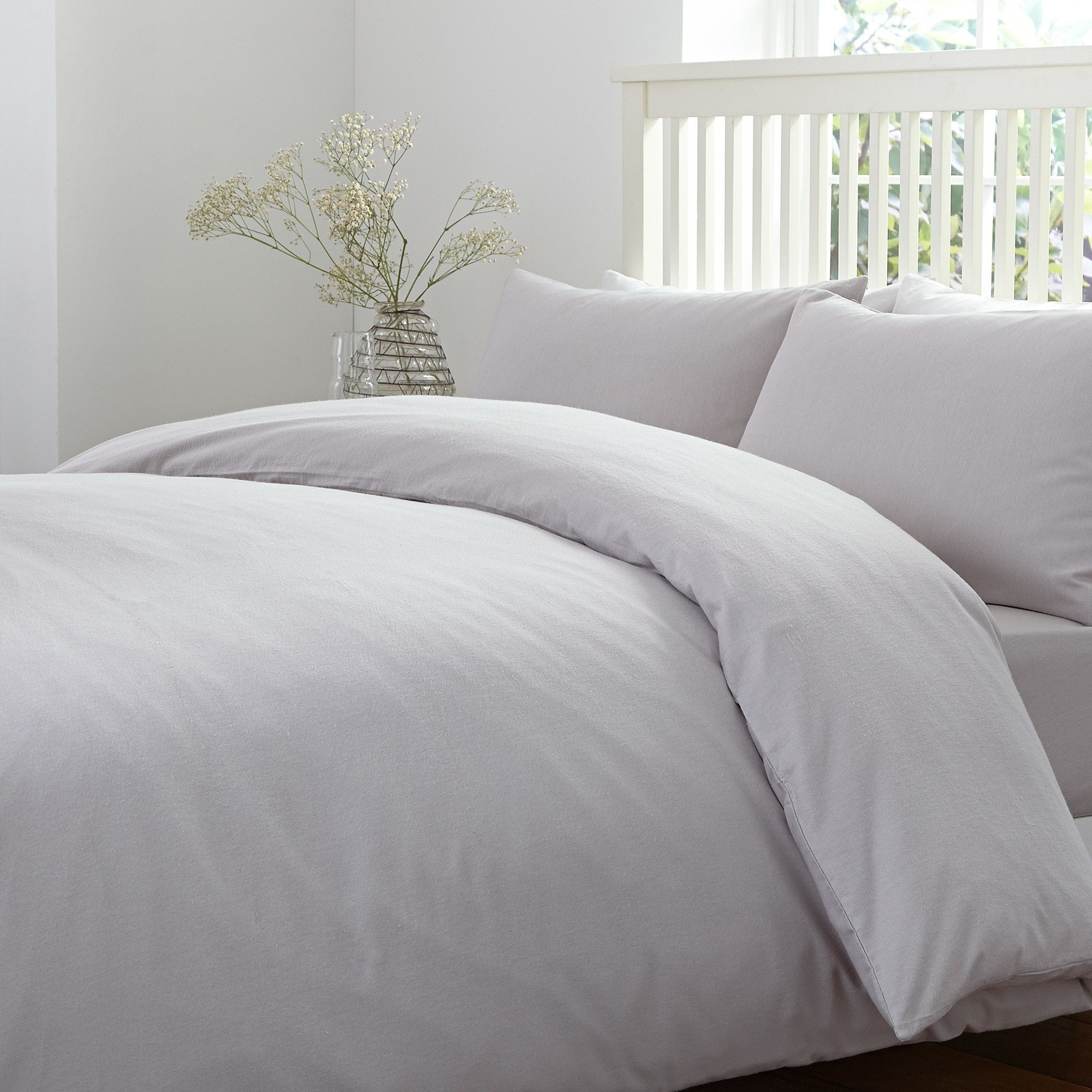 Brushed Cotton Silver Bed Linen Collection