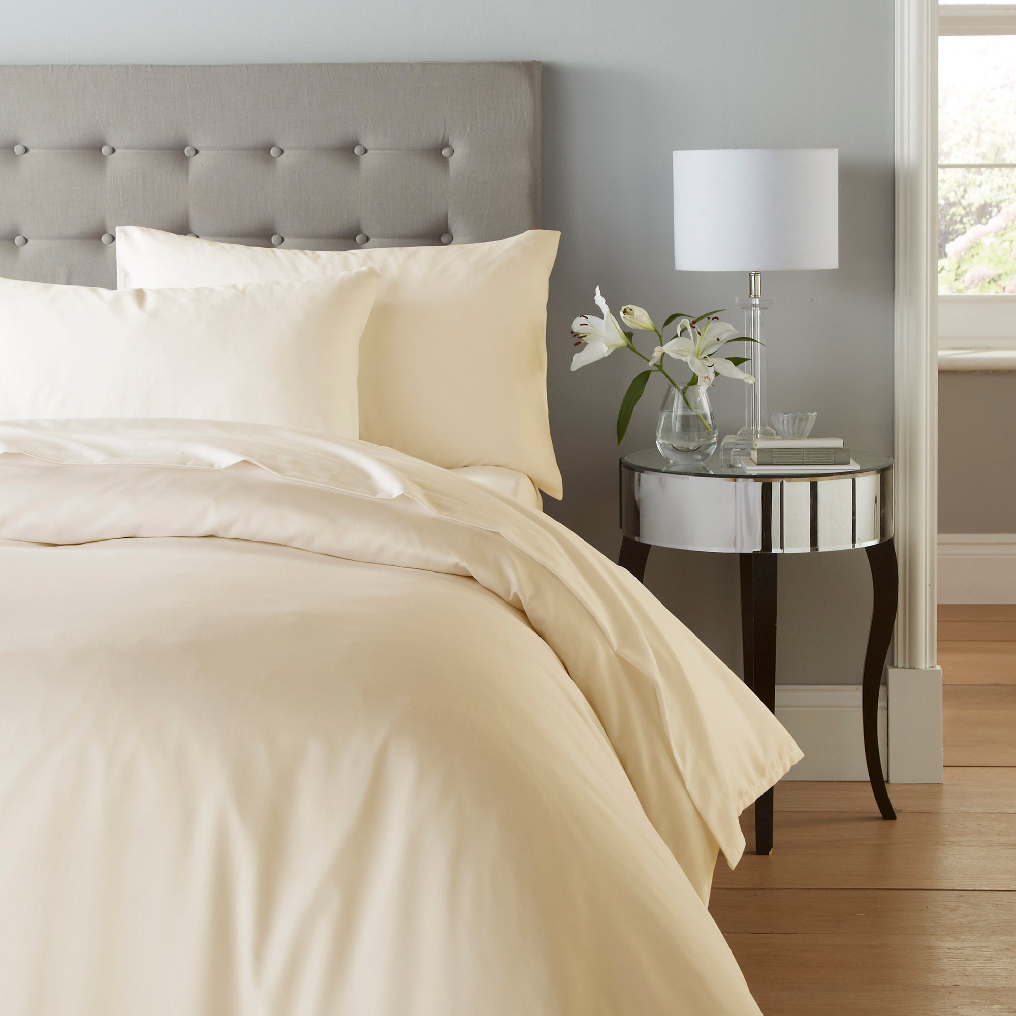 Cotton Rich Sateen Cream Bed Linen Collection