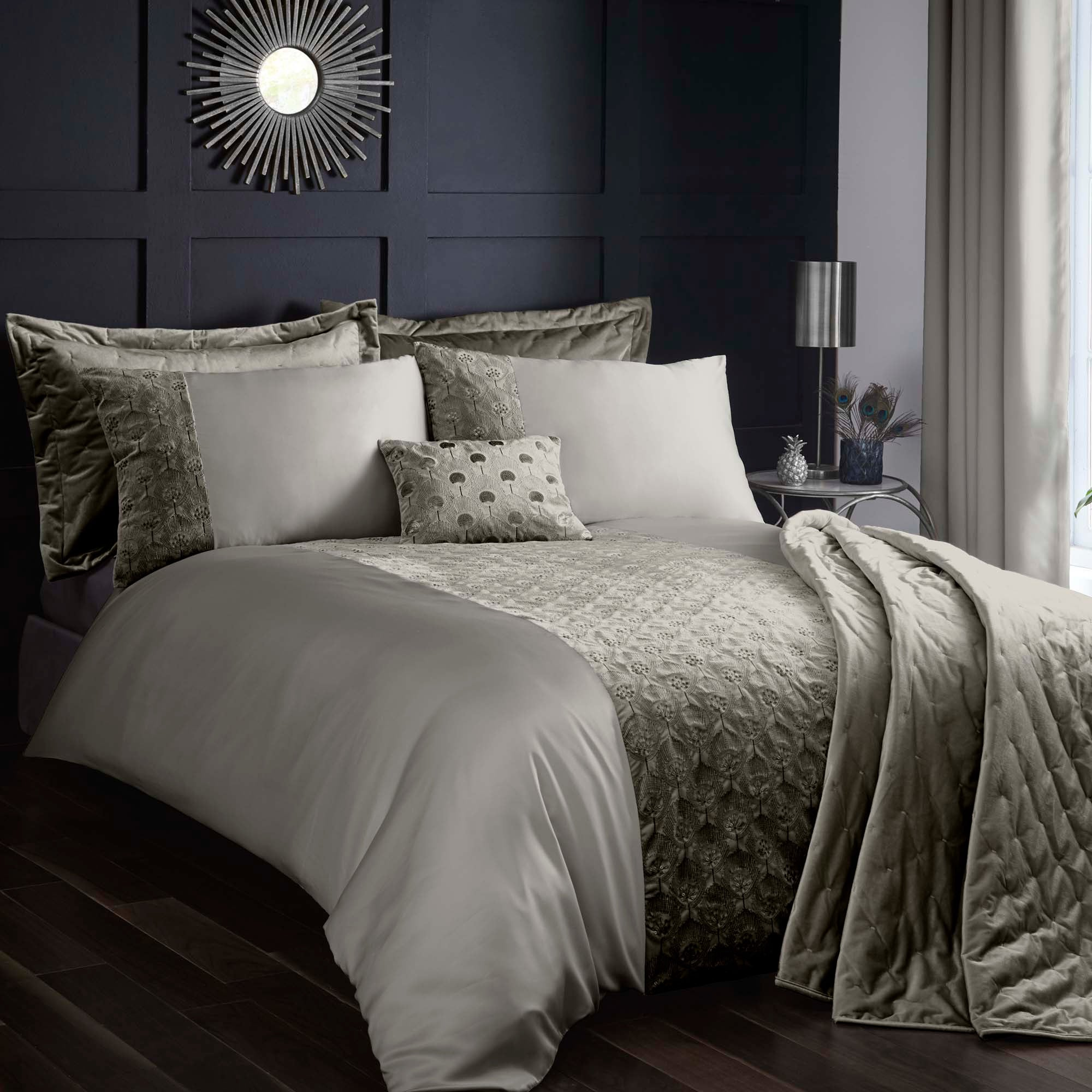 Octavia Grey Bed Linen Collection