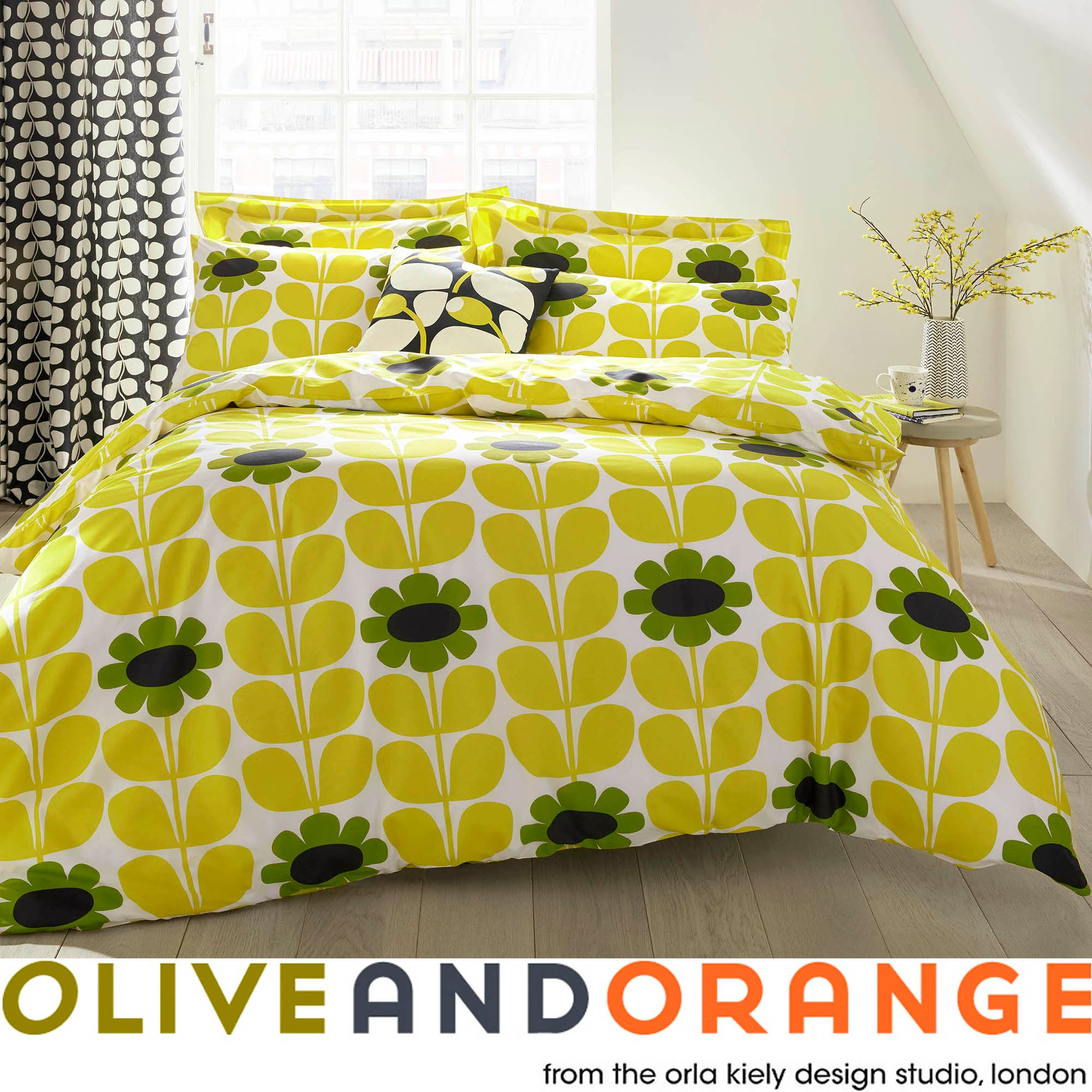 Olive & Orange Tall Flower Yellow Bed Linen Collection
