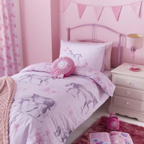Kids Pink Ponies Bed Linen Collection Dunelm