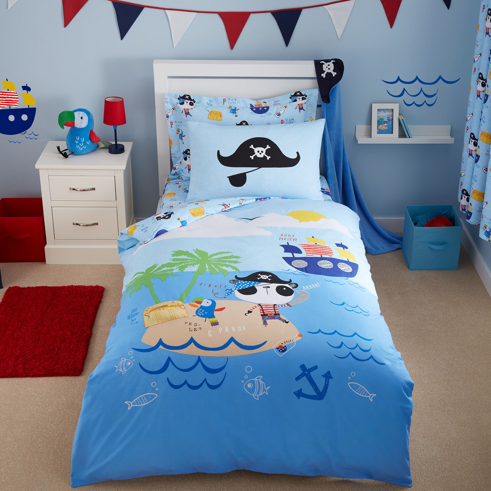 Pirate Panda Blue Bed Linen Collection