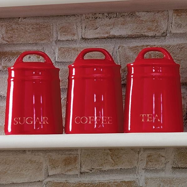 Country Red Kitchen Canister Collection