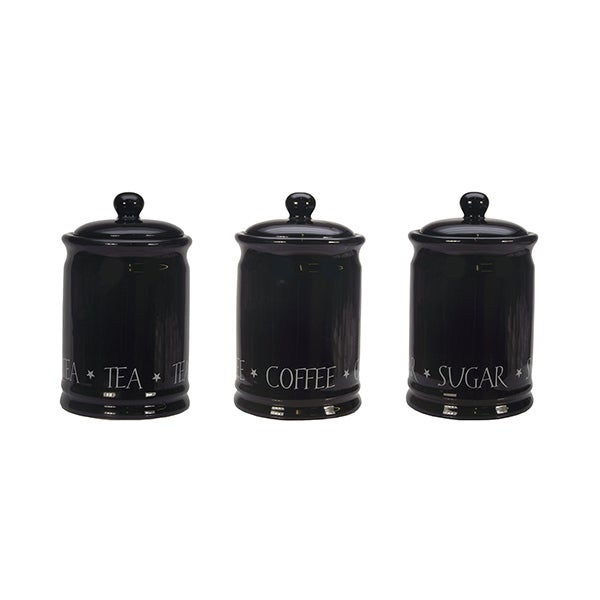 black vintage text kitchen canister collection dunelm