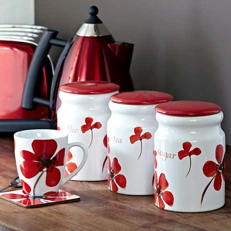 Red Painted Poppy Kitchen Canister Collection Dunelm